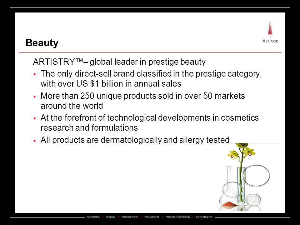 Beauty ARTISTRY– global leader in prestige beauty The only direct-sell brand classified in the prestige category, with over US $1 billion in annual sa