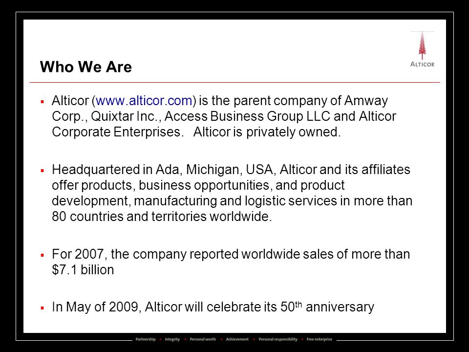 Who We Are Alticor (www.alticor.com) is the parent company of Amway Corp., Quixtar Inc., Access Business Group LLC and Alticor Corporate Enterprises.