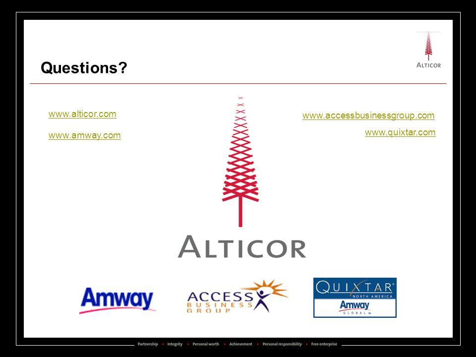 Add ACE Questions? www.alticor.com www.quixtar.com www.amway.com www.accessbusinessgroup.com