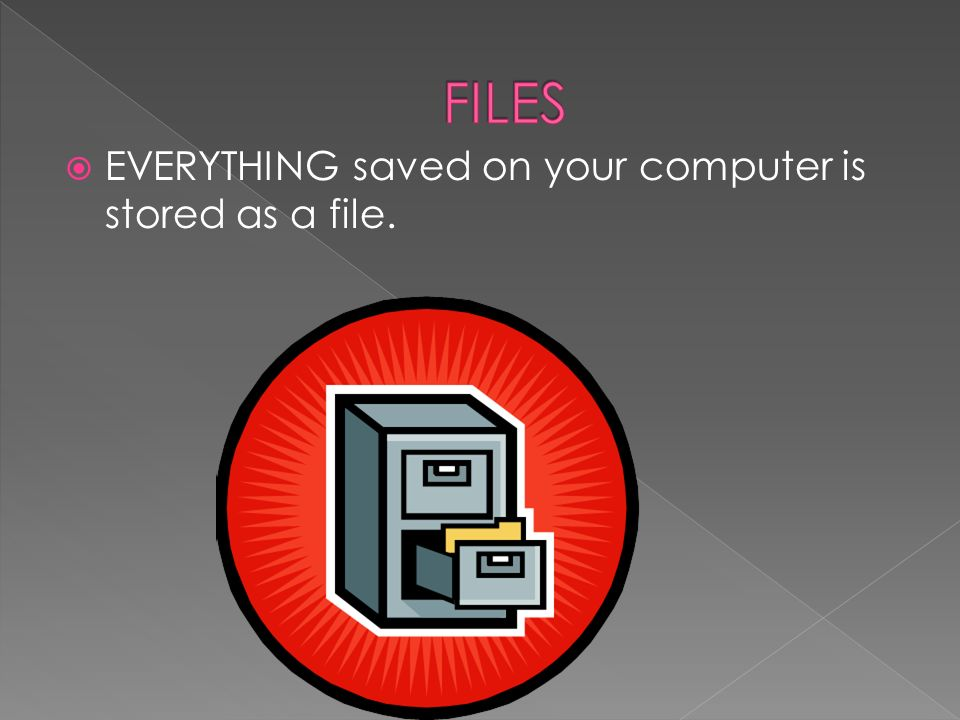 EVERYTHING saved on your computer is stored as a file.
