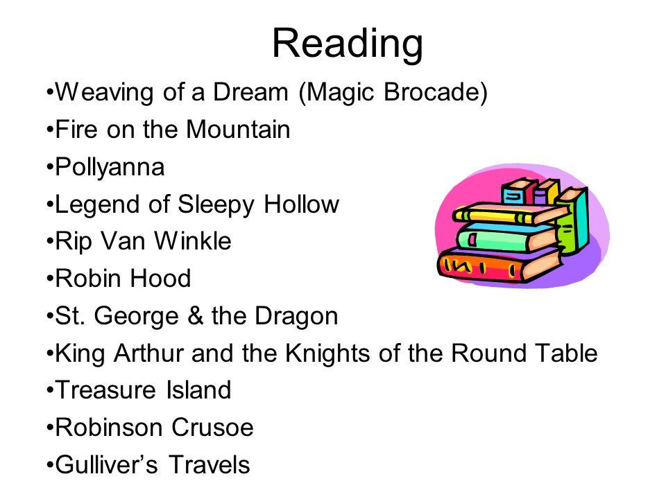 Reading Weaving of a Dream (Magic Brocade) Fire on the Mountain Pollyanna Legend of Sleepy Hollow Rip Van Winkle Robin Hood St. George & the Dragon Ki