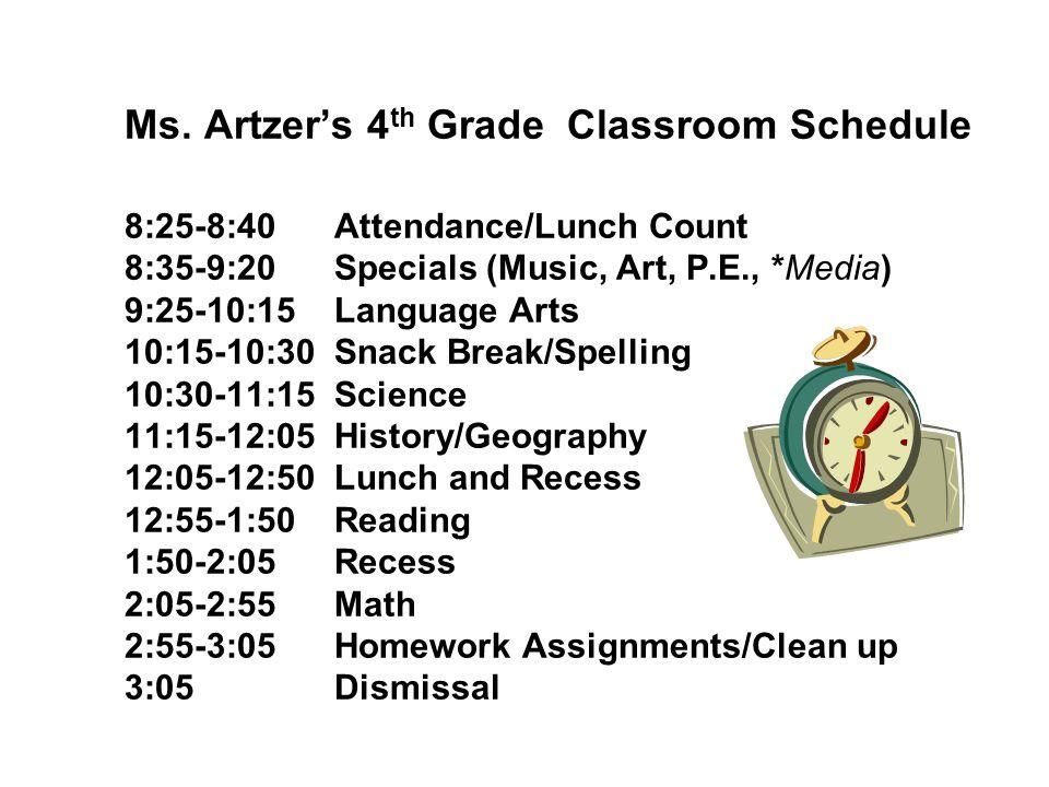 Ms. Artzers 4 th Grade Classroom Schedule 8:25-8:40 Attendance/Lunch Count 8:35-9:20Specials (Music, Art, P.E., *Media) 9:25-10:15Language Arts 10:15-