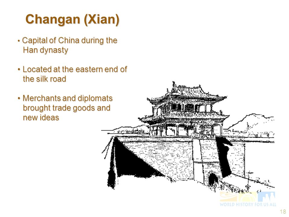 18 Changan (Xian) Changan (Xian) Capital of China during the Han dynasty Capital of China during the Han dynasty Located at the eastern end of the sil