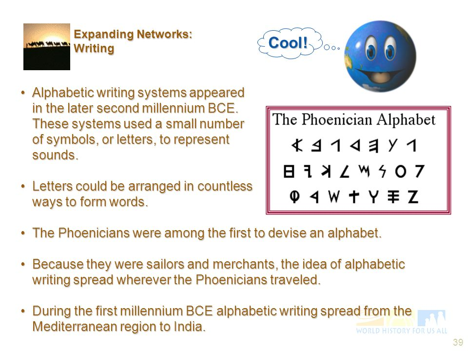 39 Alphabetic writing systems appeared in the later second millennium BCE. These systems used a small number of symbols, or letters, to represent soun