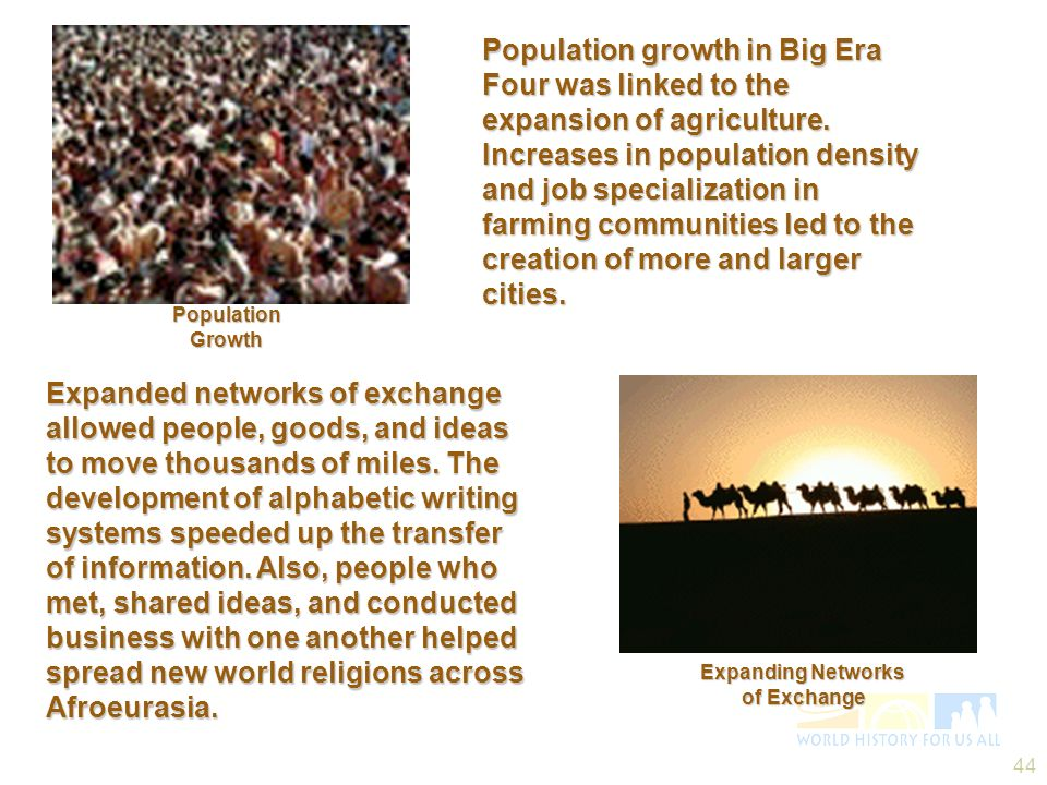 44 Expanded networks of exchange allowed people, goods, and ideas to move thousands of miles. The development of alphabetic writing systems speeded up