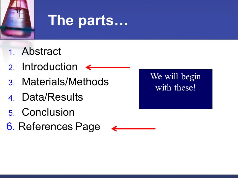 The parts… 1. Abstract 2. Introduction 3. Materials/Methods 4. Data/Results 5. Conclusion We will begin with these! 6.References Page