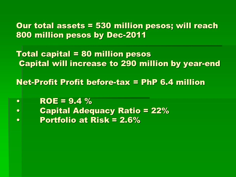 Our total assets = 530 million pesos; will reach 800 million pesos by Dec-2011 Total capital = 80 million pesos Capital will increase to 290 million by year-end Net-Profit Profit before-tax = PhP 6.4 millionROE = 9.4 %Capital Adequacy Ratio = 22%Portfolio at Risk = 2.6%