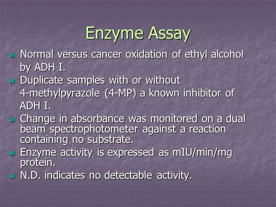Enzyme Assay Normal versus cancer oxidation of ethyl alcohol Normal versus cancer oxidation of ethyl alcohol by ADH I. by ADH I. Duplicate samples wit
