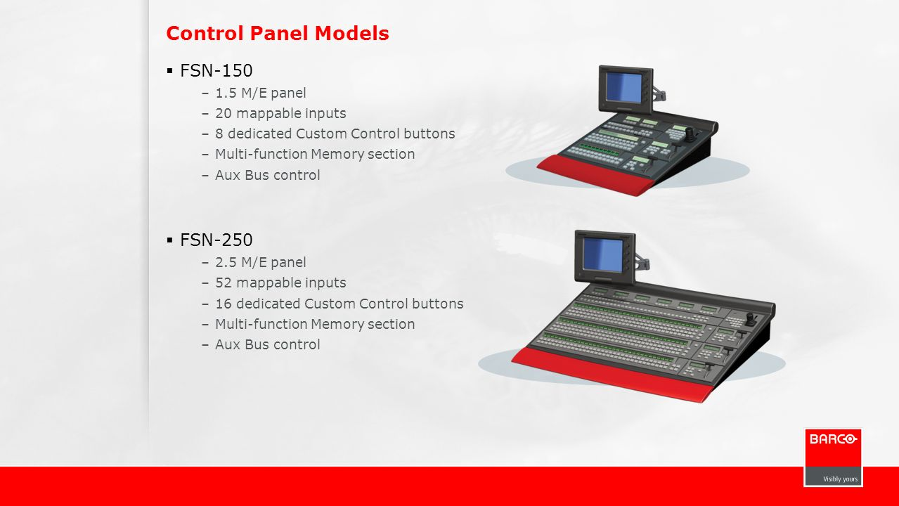 Control Panel Models FSN-150 –1.5 M/E panel –20 mappable inputs –8 dedicated Custom Control buttons –Multi-function Memory section –Aux Bus control FS