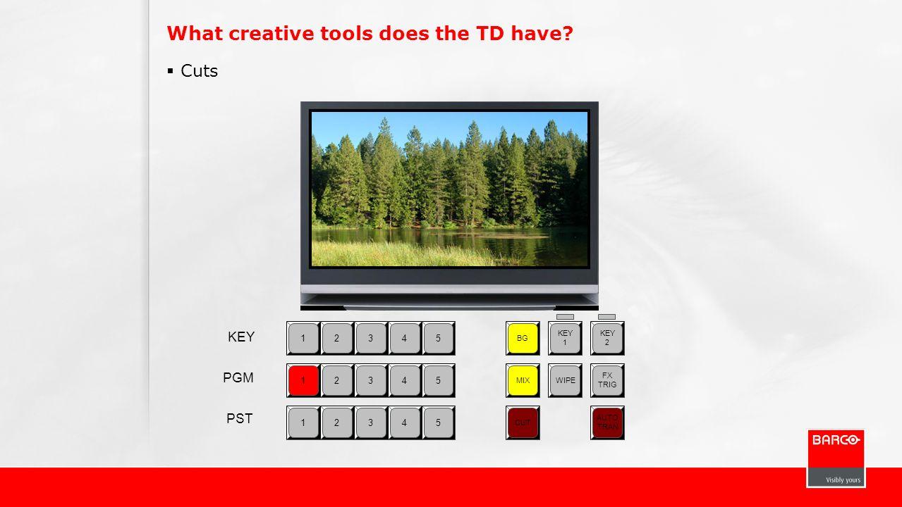 What creative tools does the TD have? Cuts 12345 BG KEY 1 KEY 2 MIXWIPE FX TRIG CUT AUTO TRAN 12345 12345 KEY PGM PST