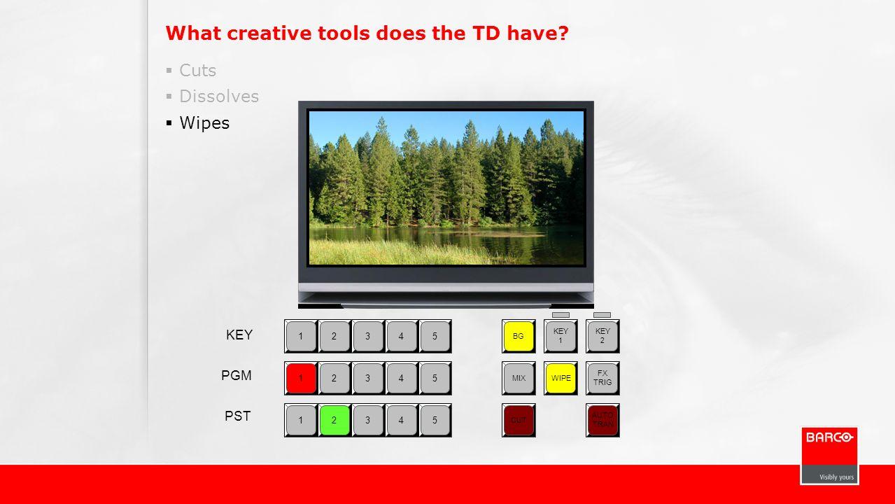 What creative tools does the TD have? Cuts Dissolves Wipes 12345 BG KEY 1 KEY 2 MIXWIPE FX TRIG CUT AUTO TRAN 12345 12345 KEY PGM PST