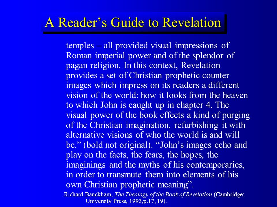 A Readers Guide to Revelation temples – all provided visual impressions of Roman imperial power and of the splendor of pagan religion. In this context