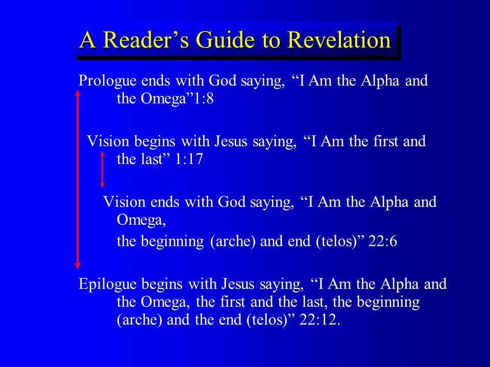A Readers Guide to Revelation Prologue ends with God saying, I Am the Alpha and the Omega1:8 Vision begins with Jesus saying, I Am the first and the l