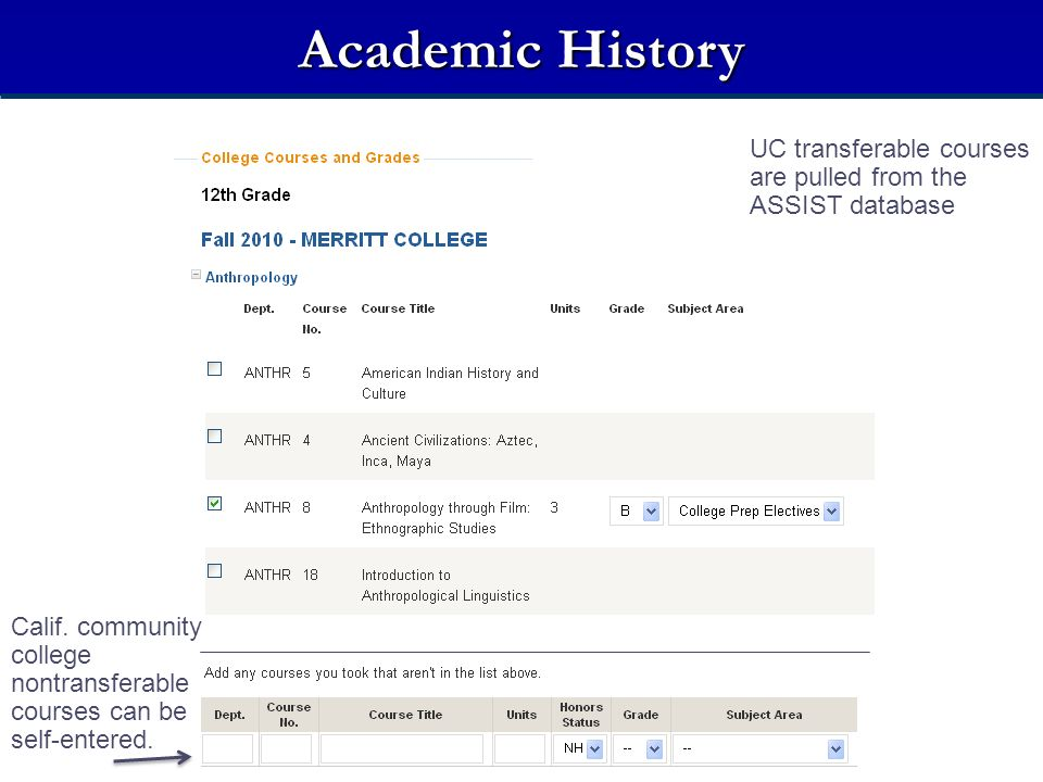 Academic History UC transferable courses are pulled from the ASSIST database Calif. community college nontransferable courses can be self-entered.