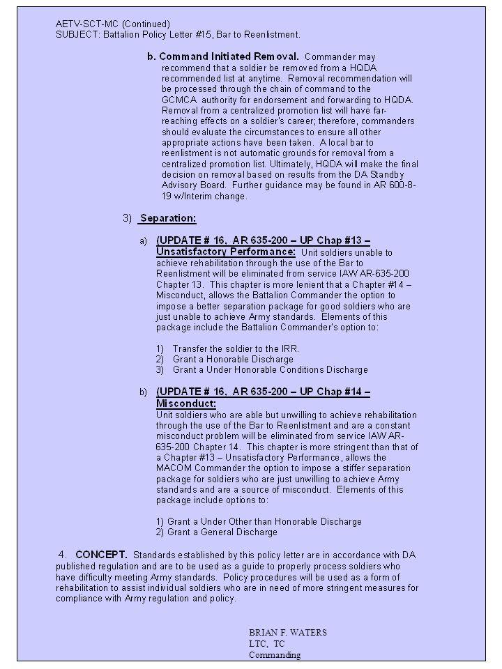BRIAN F. WATERS LTC, TC Commanding