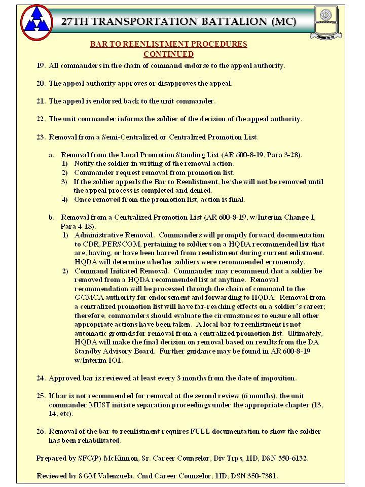 BAR TO REENLISTMENT PROCEDURES CONTINUED 27TH TRANSPORTATION BATTALION (MC)