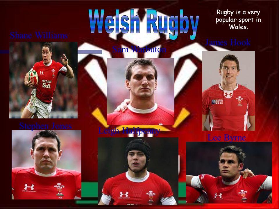 Shane Williams James Hook Leigh Halfpenny Stephen Jones Lee Byrne Sam Warbuton Rugby is a very popular sport in Wales.