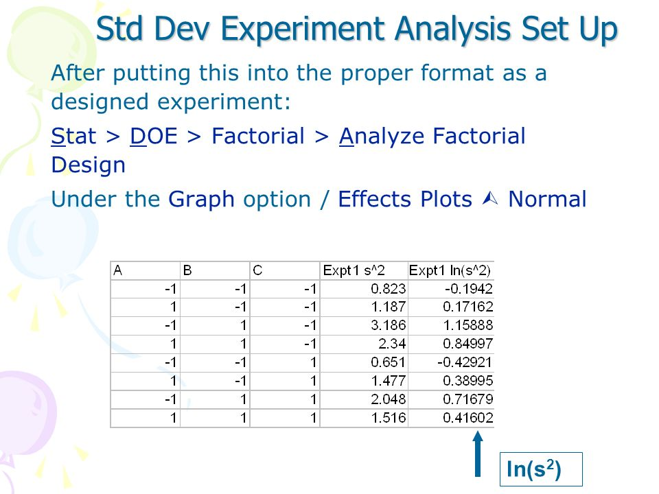 Standard Deviation Experiment The following represents the results from 2 different 2 3 experiments, where 24 replicates were run at each trial combin