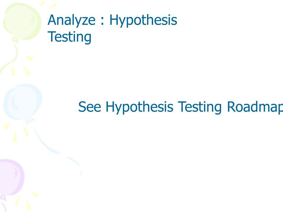 Analyze : Hypothesis Testing