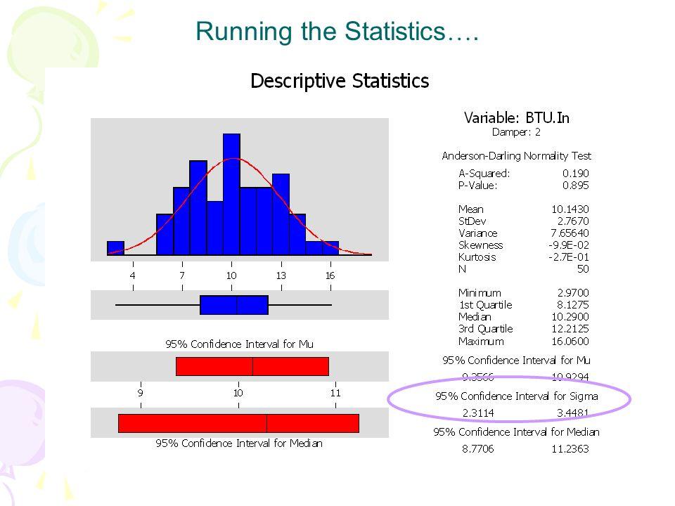 Running the Statistics….