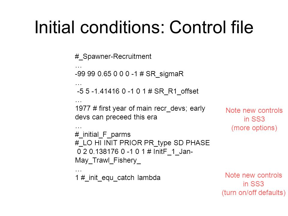 Initial conditions: Control file #_Spawner-Recruitment … -99 99 0.65 0 0 0 -1 # SR_sigmaR … -5 5 -1.41416 0 -1 0 1 # SR_R1_offset … 1977 # first year