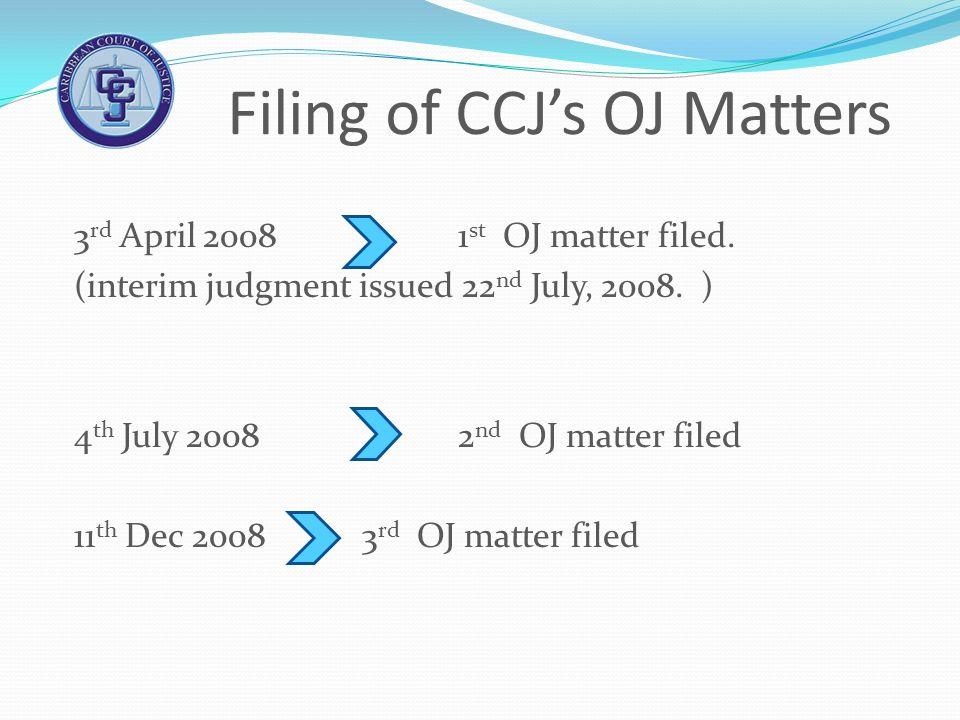 Filing of CCJs OJ Matters 3 rd April 2008 1 st OJ matter filed. (interim judgment issued 22 nd July, 2008. ) 4 th July 2008 2 nd OJ matter filed 11 th