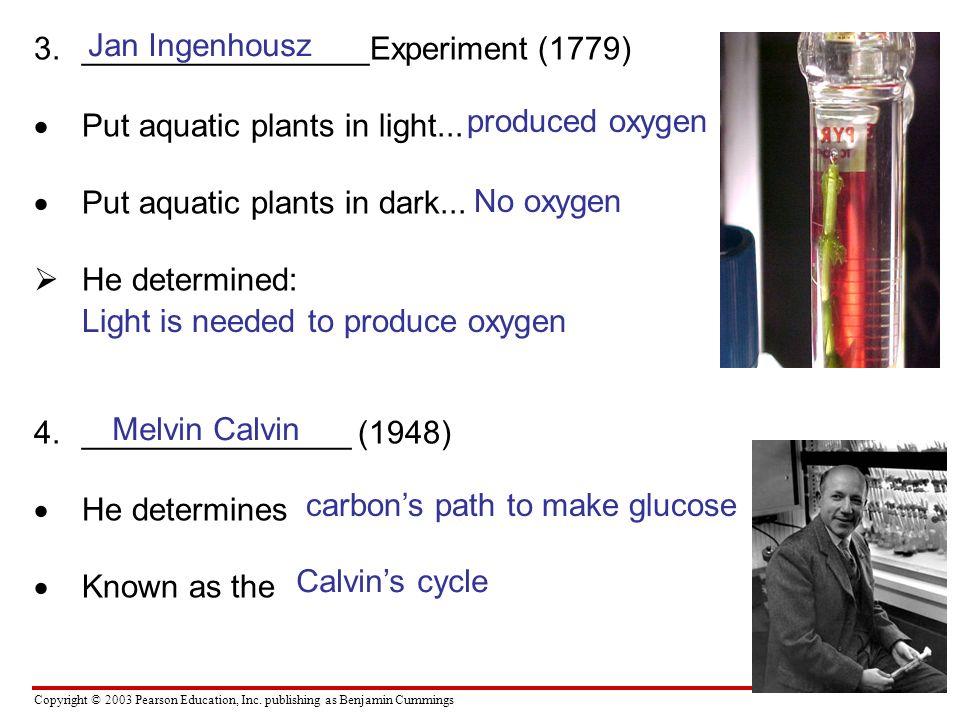 Copyright © 2003 Pearson Education, Inc. publishing as Benjamin Cummings 3.________________Experiment (1779) Put aquatic plants in light... Put aquati