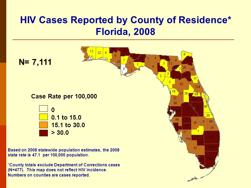 HIV Cases Reported by County of Residence* Florida, 2008 N= 7,111 Based on 2008 statewide population estimates, the 2008 state rate is 47.1 per 100,000 population.