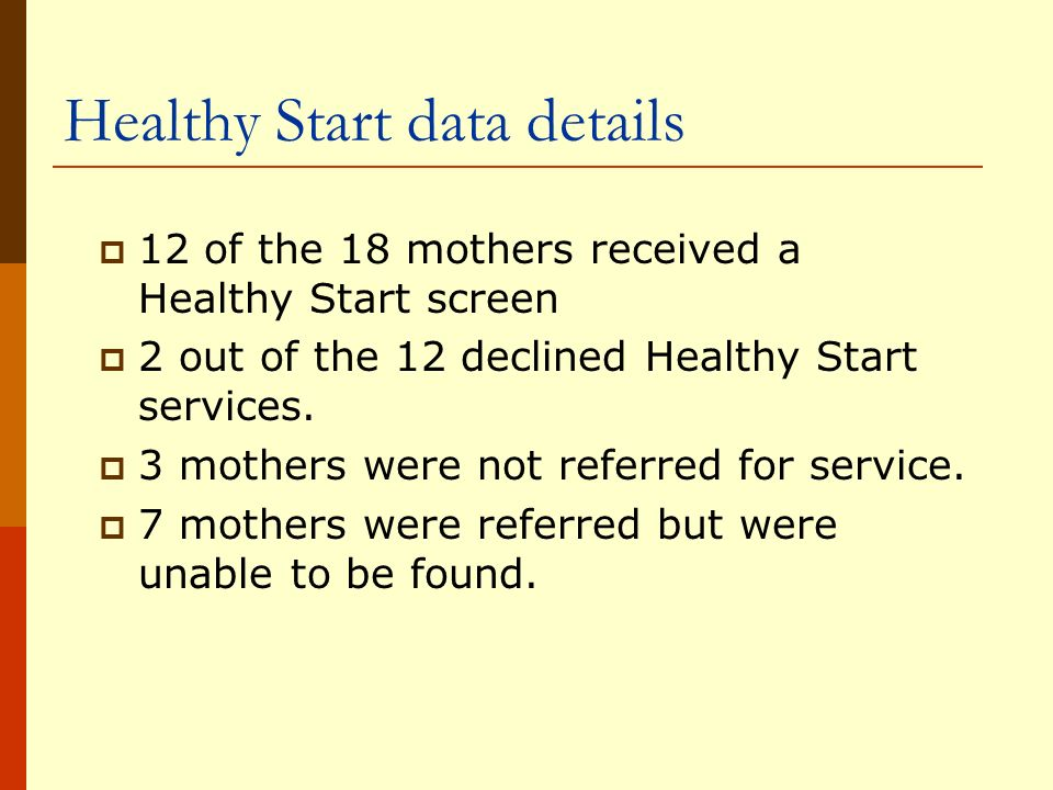 Healthy Start data details 12 of the 18 mothers received a Healthy Start screen 2 out of the 12 declined Healthy Start services.