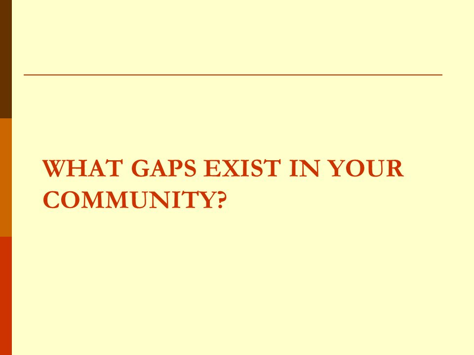 WHAT GAPS EXIST IN YOUR COMMUNITY