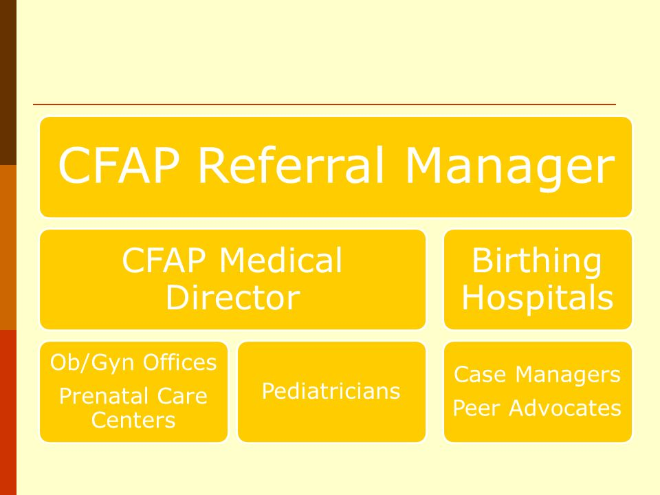 CFAP Referral Manager CFAP Medical Director Ob/Gyn Offices Prenatal Care Centers Pediatricians Birthing Hospitals Case Managers Peer Advocates