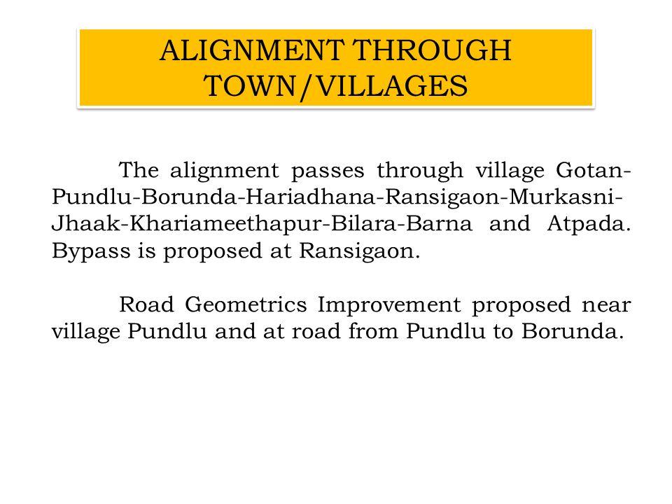 The alignment passes through village Gotan- Pundlu-Borunda-Hariadhana-Ransigaon-Murkasni- Jhaak-Khariameethapur-Bilara-Barna and Atpada. Bypass is pro