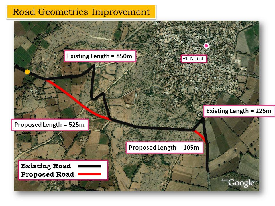 Road Geometrics Improvement PUNDLU Existing Road Proposed Road Existing Length = 850m Proposed Length = 525m Existing Length = 225m Proposed Length =