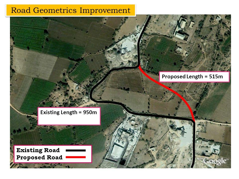 Road Geometrics Improvement Existing Road Proposed Road Existing Length = 950m Proposed Length = 515m