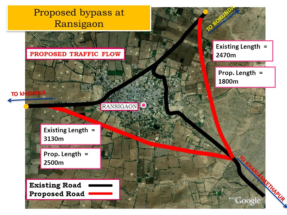 RANSIGAON EXISTING TRAFFIC FLOW PROPOSED TRAFFIC FLOW Proposed bypass at Ransigaon Existing Road Proposed Road Prop. Length = 1800m Prop. Length = 250