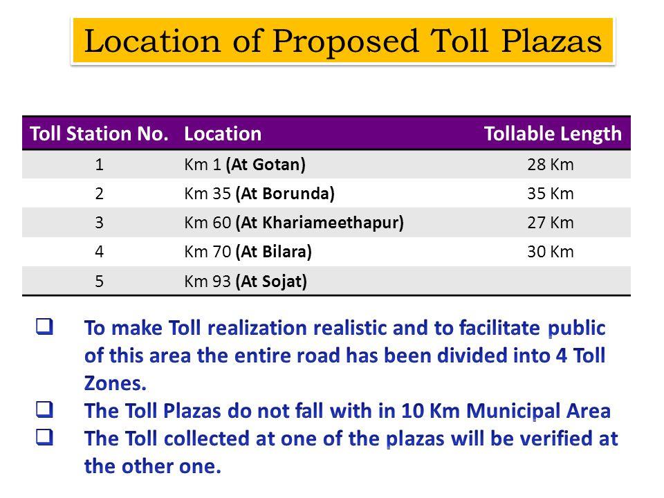 Toll Station No.Location Tollable Length 1Km 1 (At Gotan)28 Km 2Km 35 (At Borunda)35 Km 3Km 60 (At Khariameethapur)27 Km 4Km 70 (At Bilara)30 Km 5Km 9