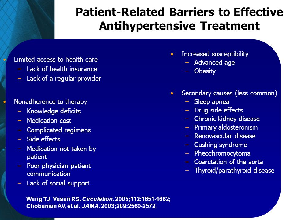 Patient-Related Barriers to Effective Antihypertensive Treatment Limited access to health care –Lack of health insurance –Lack of a regular provider Nonadherence to therapy –Knowledge deficits –Medication cost –Complicated regimens –Side effects –Medication not taken by patient –Poor physician-patient communication –Lack of social support Increased susceptibility –Advanced age –Obesity Secondary causes (less common) –Sleep apnea –Drug side effects –Chronic kidney disease –Primary aldosteronism –Renovascular disease –Cushing syndrome –Pheochromocytoma –Coarctation of the aorta –Thyroid/parathyroid disease Wang TJ, Vasan RS.