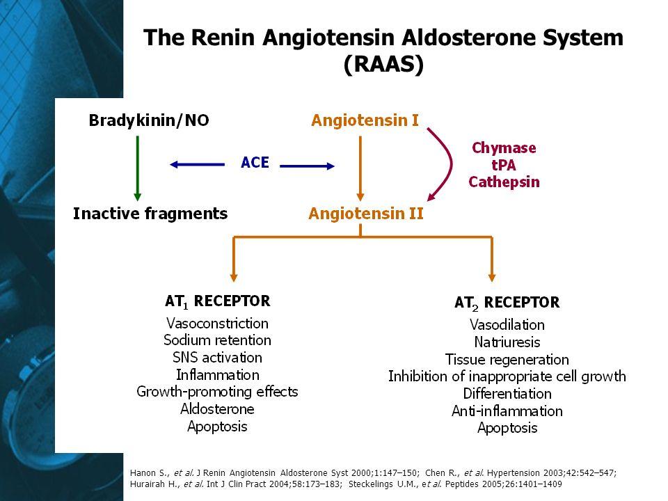 The Renin Angiotensin Aldosterone System (RAAS) Hanon S., et al. J Renin Angiotensin Aldosterone Syst 2000;1:147–150; Chen R., et al. Hypertension 200