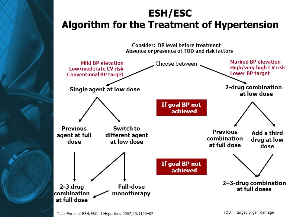 Consider: BP level before treatment Absence or presence of TOD and risk factors Choose between If goal BP not achieved 2–3-drug combination at full doses ESH/ESC Algorithm for the Treatment of Hypertension TOD = target organ damage Marked BP elevation High/very high CV risk Lower BP target Mild BP elevation Low/moderate CV risk Conventional BP target Task Force of ESH/ESC.