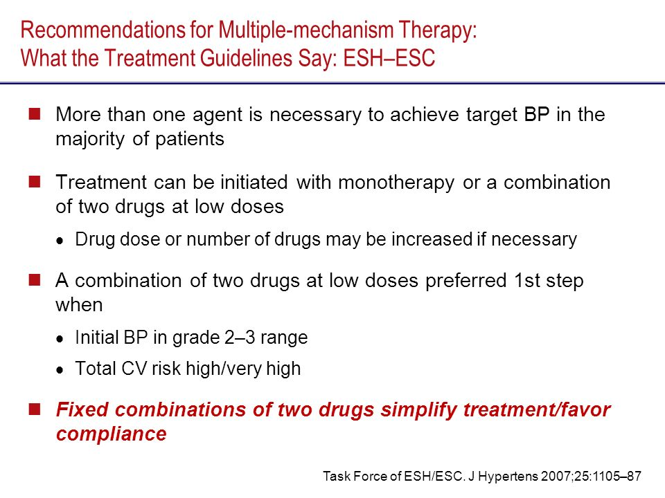 Recommendations for Multiple-mechanism Therapy: What the Treatment Guidelines Say: ESH–ESC More than one agent is necessary to achieve target BP in the majority of patients Treatment can be initiated with monotherapy or a combination of two drugs at low doses Drug dose or number of drugs may be increased if necessary A combination of two drugs at low doses preferred 1st step when Initial BP in grade 2–3 range Total CV risk high/very high Fixed combinations of two drugs simplify treatment/favor compliance Task Force of ESH/ESC.