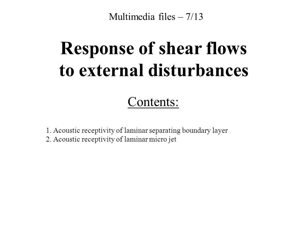 Response of shear flows to external disturbances Contents: 1. Acoustic receptivity of laminar separating boundary layer 2. Acoustic receptivity of lam