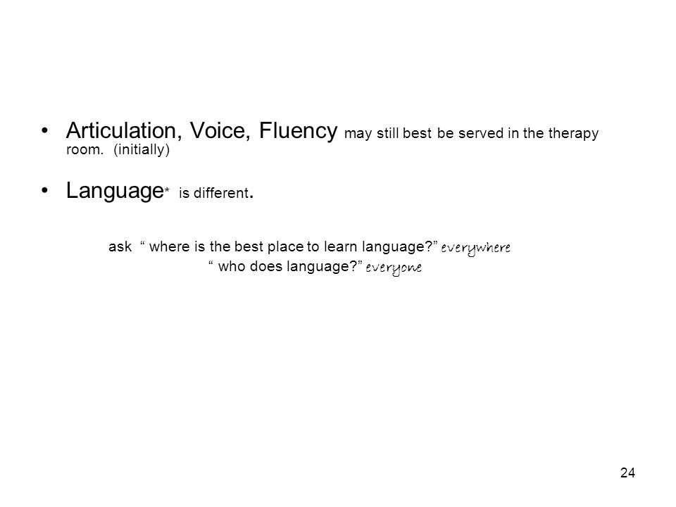 24 Articulation, Voice, Fluency may still best be served in the therapy room.