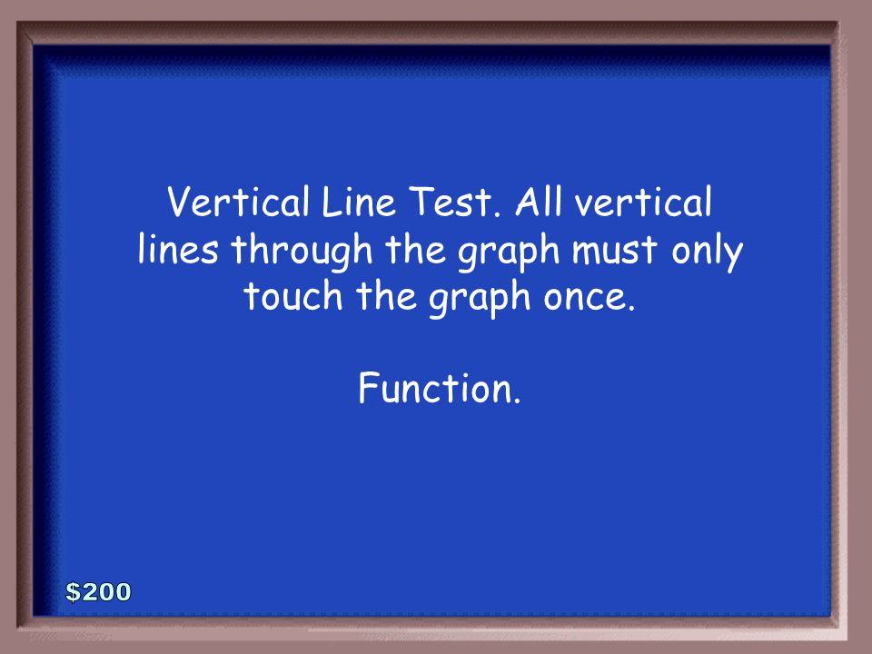 1-200 How do we test whether or not the graph below represents a function or just a relation? Which is it?