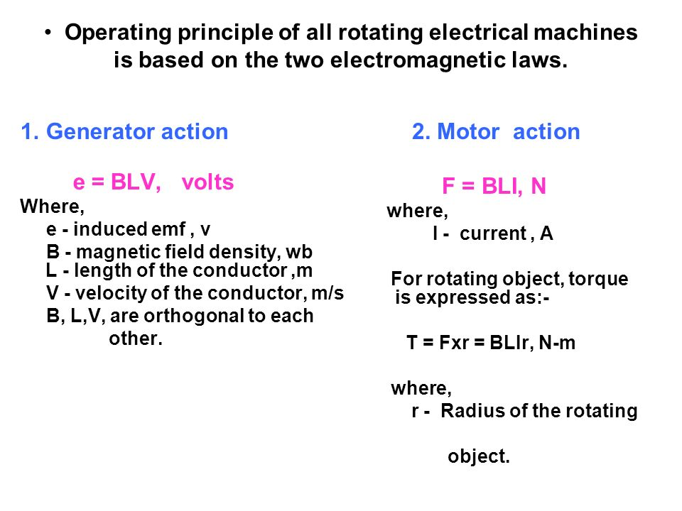 Operating principle of all rotating electrical machines is based on the two electromagnetic laws. 1.Generator action e = BLV, volts Where, e - induced