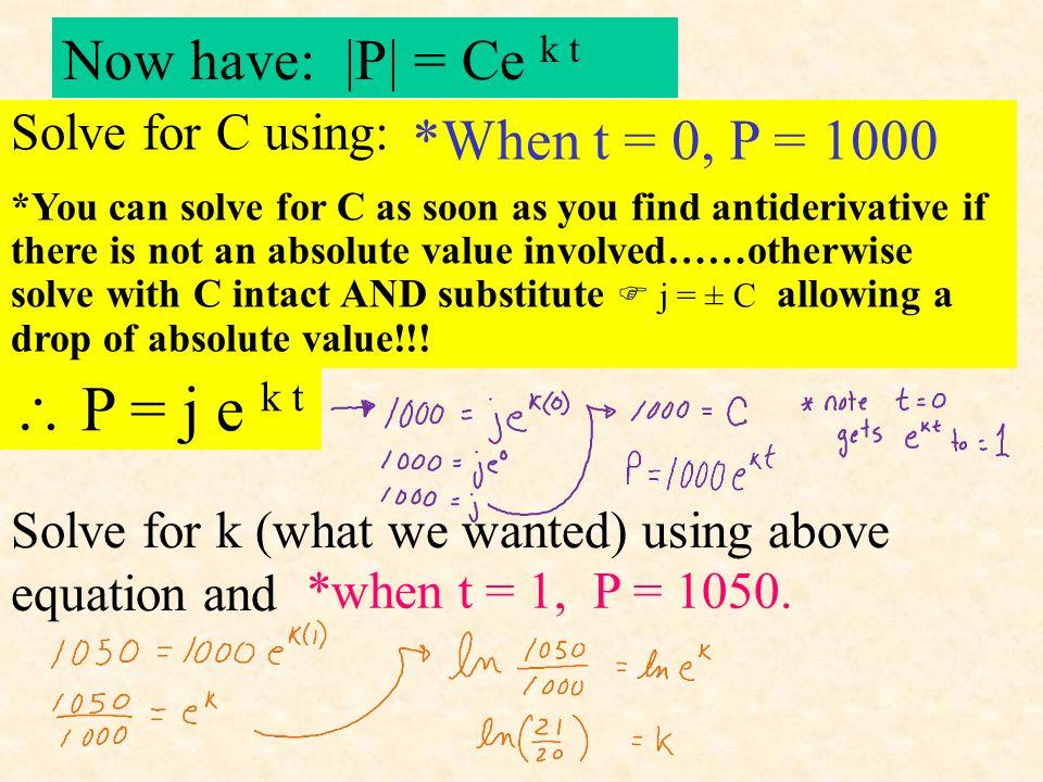 *when t = 1, P should equal 1050. *When t = 0, P = 1000 = kP dP dt *Separate variables in = kP dP dt dP P = k dt ln | P | = k t + C solve