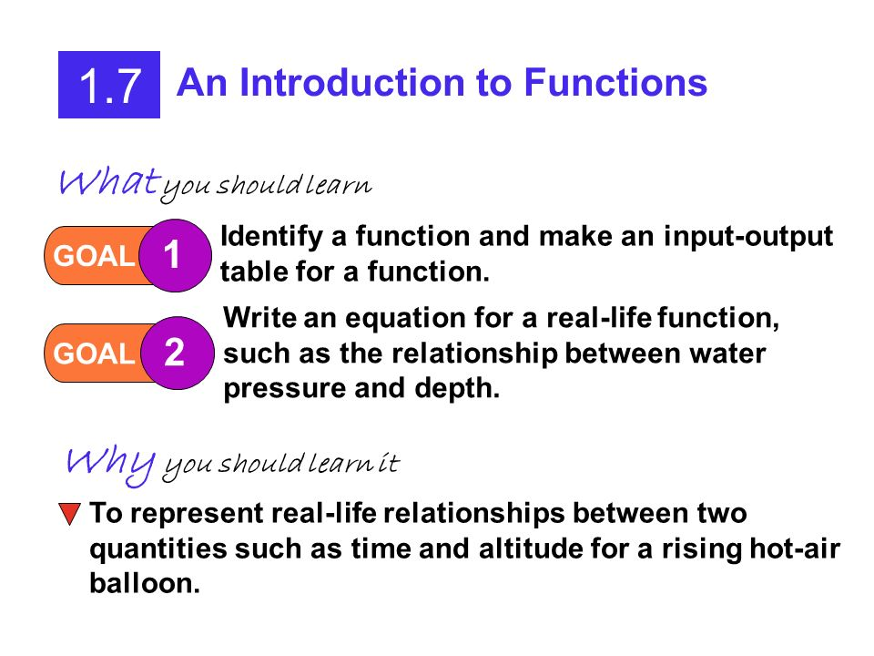 1.7 An Introduction to Functions GOAL 1 Identify a function and make an input-output table for a function.