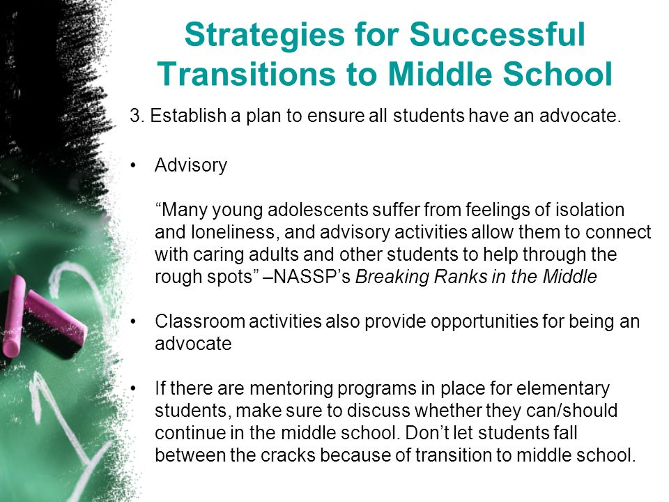 Strategies for Successful Transitions to Middle School 3.