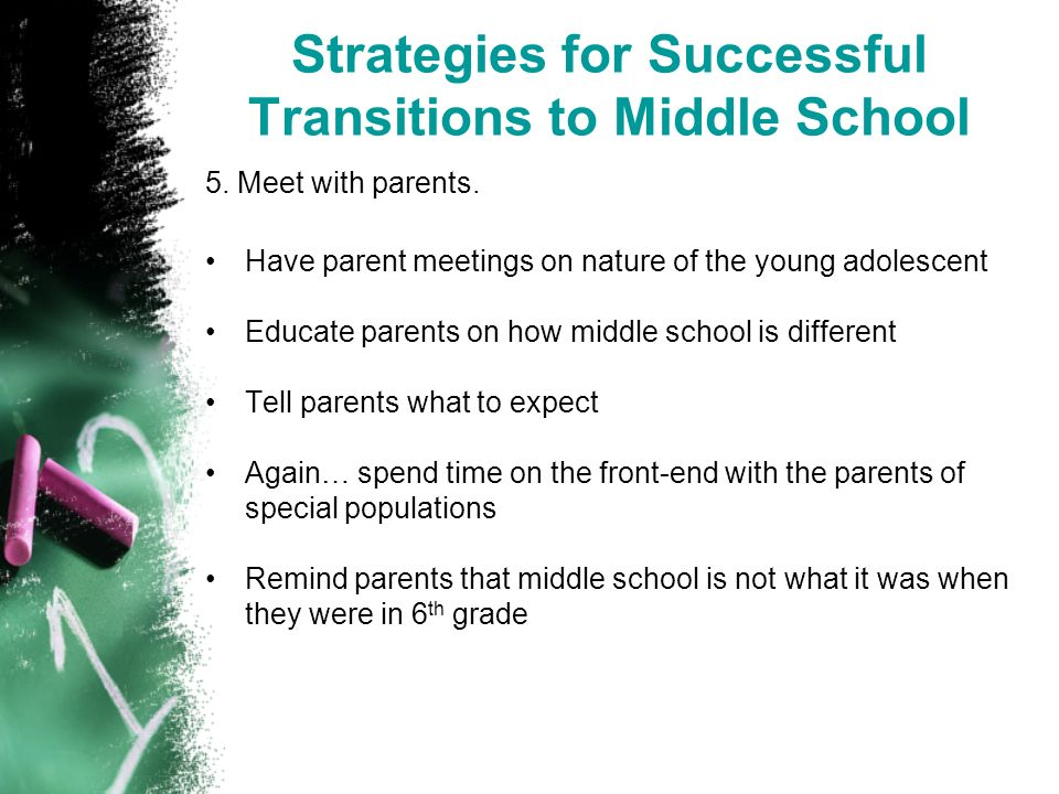 Strategies for Successful Transitions to Middle School 5.