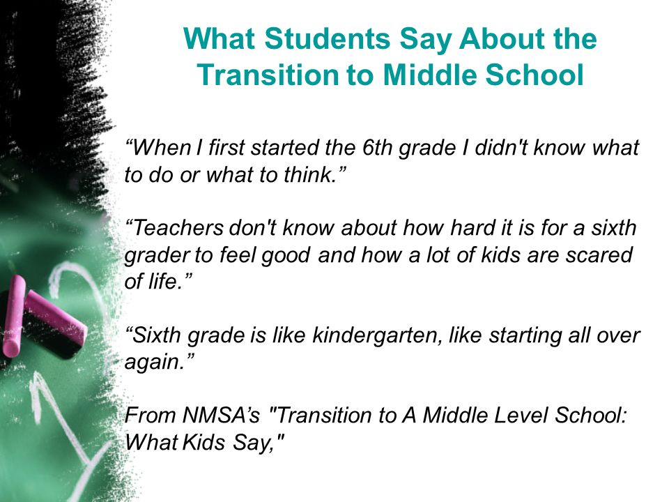What Students Say About the Transition to Middle School When I first started the 6th grade I didn t know what to do or what to think.
