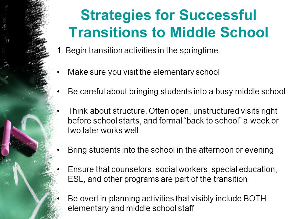 Strategies for Successful Transitions to Middle School 1.